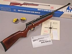 The QB78 Deluxe Chinese Air Rifle. CO2-powered wood and metal airgun. Uses any scope sight. Spare parts kits and accessories available.