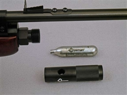 Single 12 gram CO2 powerlet adapter for chinese QB79 and AR2079 CO2-powered wood and metal airguns.